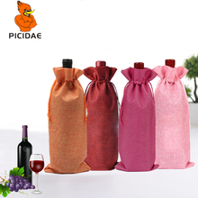 Red Wine Linen Gift Beam Cloth Liqueur Pouch Present Bag Package Banquet Home Blind Set Shopping Storage Eco Drawstring Tote