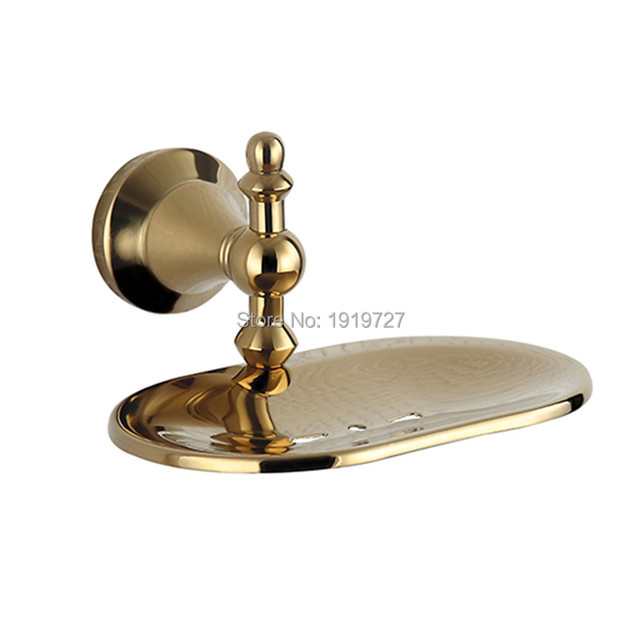 2017 Wall Mounted Modern New Bathroom Polished Golden Brass Soap Dish Holder