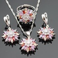 Multicolor Stones Snowflake Shaped Silver Color Jewelry Sets For Women Necklace Pendant Drop Earrings Rings Free Gift Box