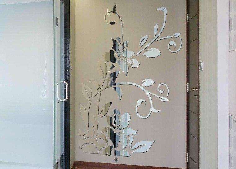 Livraison gratuite TV fond décoratif mur miroir autocollant, 3D miroir autocollant, acrylique mur miroir autocollant - 2