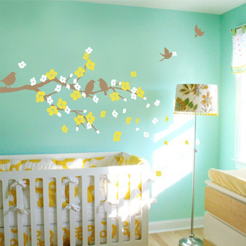 New Cherry Blossom Branch with Birds - Kids Vinyl Wall Sticker Decal - Home Decor - Photo 4