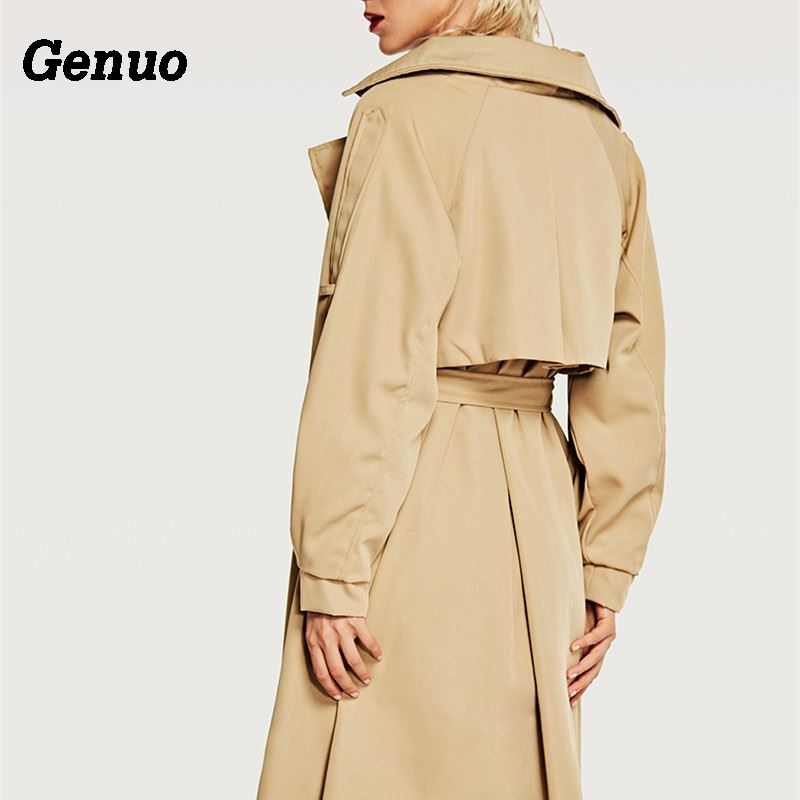Genuo Women Double Button Trench Women 39 s Long Classic Windbreaker Trench Coat Autumn Winter Outwear Office Lady Fashion Overcoat in Trench from Women 39 s Clothing
