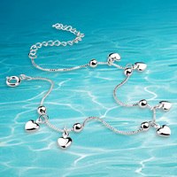 Anklet!Genuine solid original 925 sterling silver anklet for women fashion jewelry silver anklet