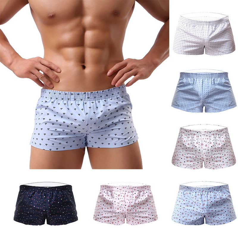 2019 Men Underwear Boxer Shorts Loose Breathable Sleepwear Trunks Slacks Men Underwear Printed Sexy Dot Men Shorts Underwear