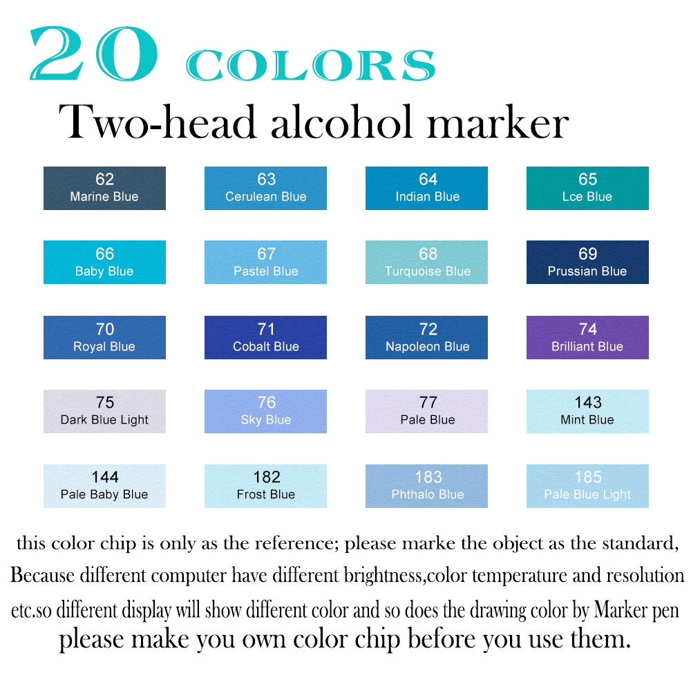 Touchfive Marker Pens 20 Colours Alcohol Markers Blue Color Set Ocean Sky Fashion Stationery Pen For School Sketch In Art From Office