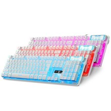 104Keys 3 Colors Glow LED Backlit USB Wired Gaming Keyboard Backlight keyboard for Tablet Desktop Computer Peripheral