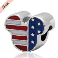 American Flag Mickey Silver Charms Original 925 Sterling Silver Enamel Beads Fit For Pandora Bracelets Free