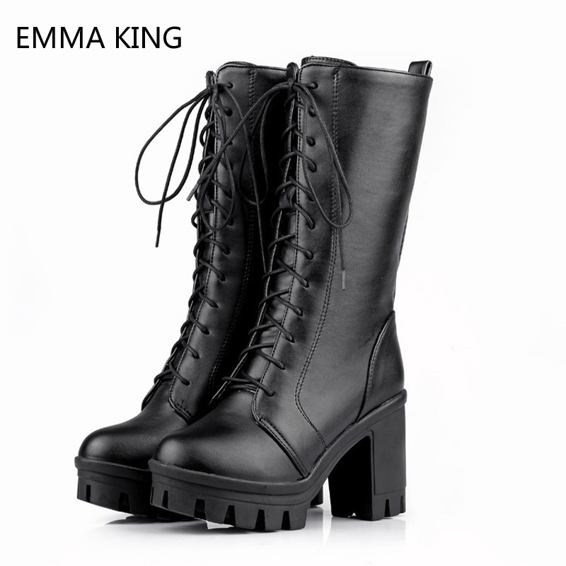 Black Lace Up Ankle Boots Women Combat Martin Boots Round Toe Metal Detail Knee High Boots Platform Ladies Shoes Female