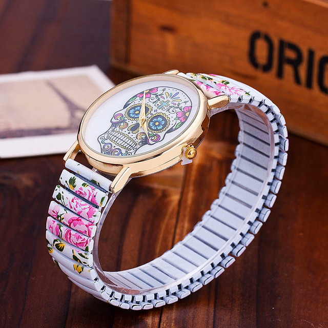 Dropshipping Fashion Skull Gothic Flower Watches Casual Women Wristwatches Quartz Watch Relogio Feminino Hot