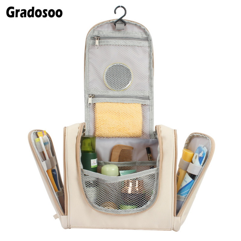 Gradosoo Hanging Makeup Bag Women Multifunction Travel Organizer Storage Female Cosmetic Case Large Capacity Wash Bag New LBF589 in Cosmetic Bags Cases from Luggage Bags