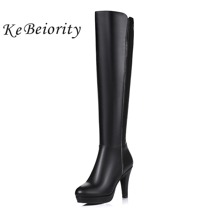 KEBEIORITY Over Knee High Heel Boots Women Sexy Black Red Booties Leather Shoes Spring Autumn Fashion Women Tall Boots Zipper nemaone plus size hot spring autumn women boots sexy high heel over the knee soft pu leather black white fashion high boots