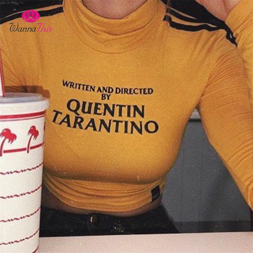 f7a2114ee5cfc WannaThis QUENTIN TARANTINO Crop Tops Women Long Sleeve Side Stripe  Turtleneck Skinny Short T Shirt 2018 Sexy Cotton Short Tees-in T-Shirts  from Women s ...