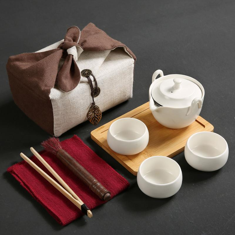 Japanese Travel Kung Fu Tea Set Ceramic Portable Teapot Porcelain Teaset Gaiwan Tea Cups Of Tea