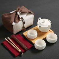 Japanese Travel Kung Fu Tea Set Ceramic Portable Teapot Porcelain Teaset Gaiwan Tea Cups Of Tea Ceremony Tea Pot Drinkware 2019