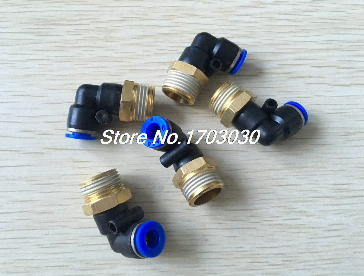 50pcs 6mm-1/8 Pneumatic Connectors Elbow Fitting BSPT L 5 pcs 5mm male thread m5 0 8 to 4mm od tube l shape pneumatic fitting elbow quick fittings air connectors