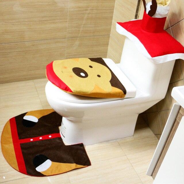 1 Set/3pcs Fancy Happy Santa Toilet Seat Cover Rug Bathroom Set Decoration  Rug Christmas