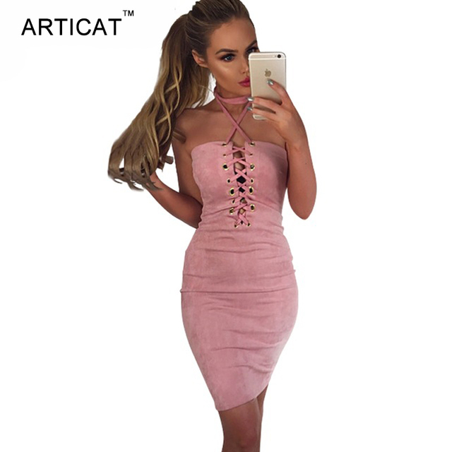 08682a6ace51 Articat Sexy Suede Cross Bandage Dress Halter Shealth Backless Lace Up  Bodycon Party Dresses Autumn Off Shoulder Club Mini Dress