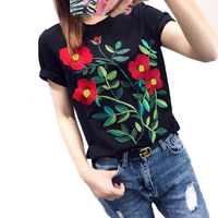 Black Short Sleeve T Shirt For Women 2019 Summer New Embroidery Flowers T Shirts Women's Tees Tops Camisetas Feminino
