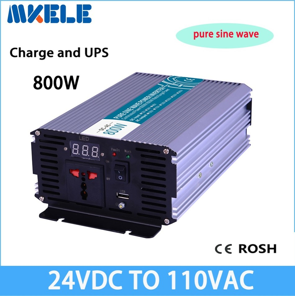 цена на MKP800-241-C 800W inverter 24vdc to 110vac voltage converter LED Display off grid Pure Sine Wave with charger
