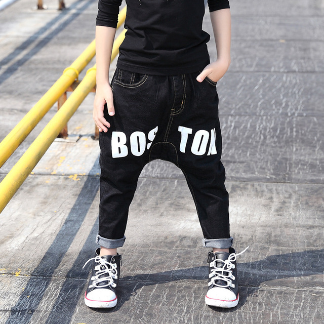 2016 New Autumn Winter boys jeans warm from 3 to 13 years old fashion children haren pants with letter print B184