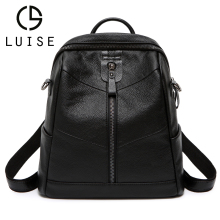LUISE  Genuine Leather Women Backpacks School Bag Pink Stripe Multifunctional Back pack on Shoulder Fashion