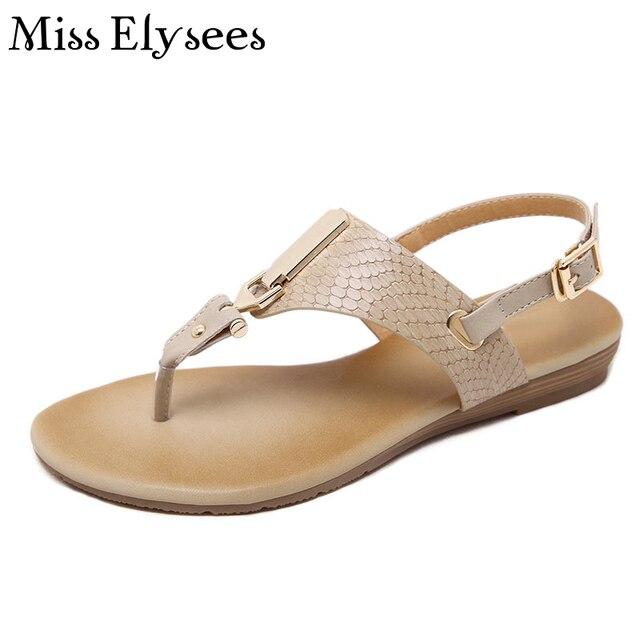 cf977e252c1e Gold Metal Cute Flip Flops Sandals for Women Snake Skin Flat Cusual Summer Womens  Sandals Plus Size35-41 Sandalia Feminina