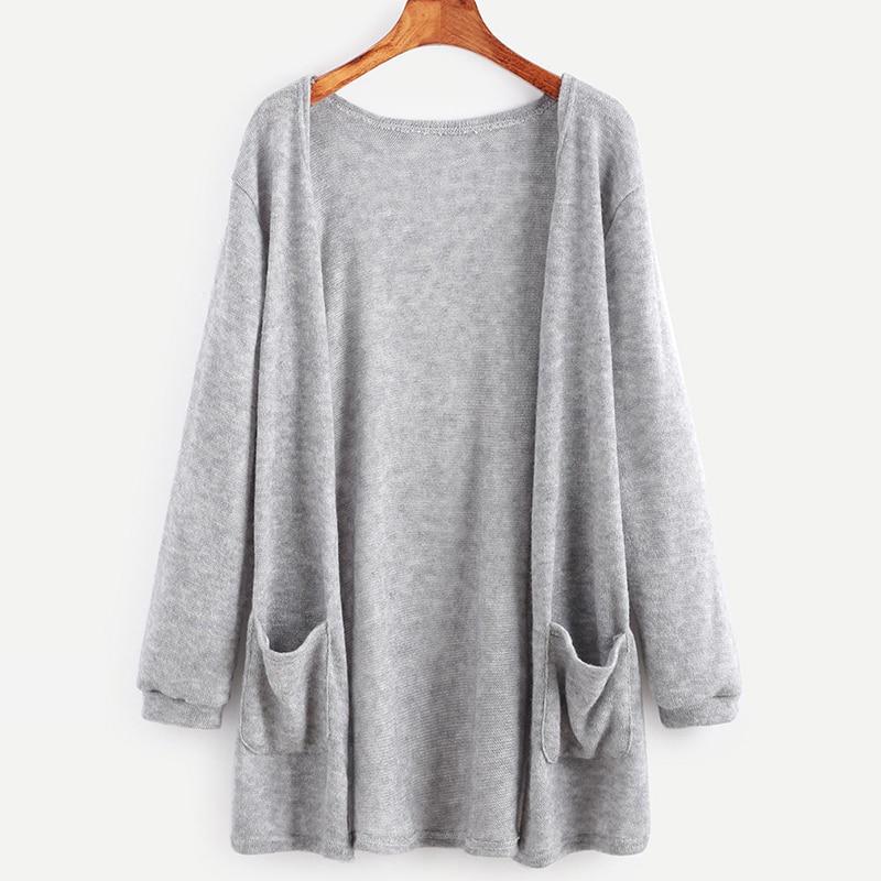 2018 New Spring Autumn Ladies Loose Sweater Jacket Women Cardigan Knitwear Coat Black Gray Sweater Outerwear Pocket IU829388