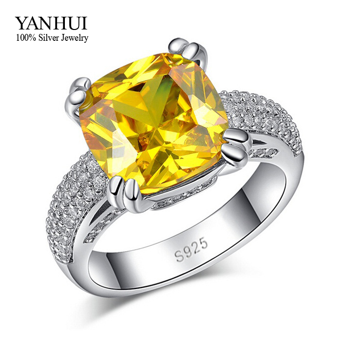 YANHUI Fine Jewelry S925 Stamp Real 925 Sterling Silver Ring Set Luxury 4 Carat Yellow Zircon Stone Wedding Ring for Women HR015