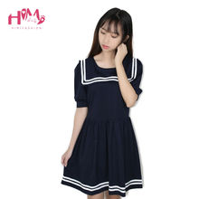 Корея Вмс С Коротким Рукавом Dress Ladies Симпатичные Harajuku Японский Мода Школьная форма Dress С Матрос Воротник Короткий Dress Темно-