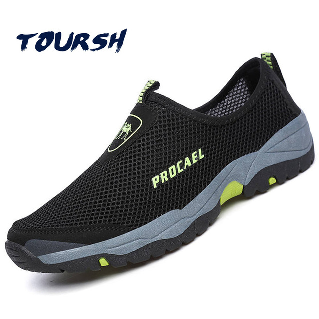 Toursh Summer Water Shoes Men Mesh Aqua Mens Beach Upstream Waterproof Hiking Sandals