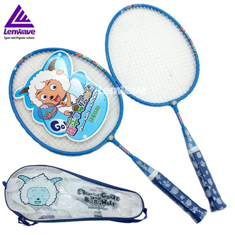 Youth Children Badminton Rackets &Lenwave Brand 1 Pair Child Sports Cartoon  Badminton Racket