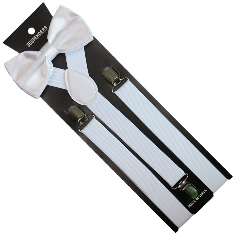 Fashion 2.5cm Wide Solid Color Clip-on Braces Bow Tie Elastic Y-back  Suspenders For Men Womens 3 Clip Suspenders Bow Ties Sets