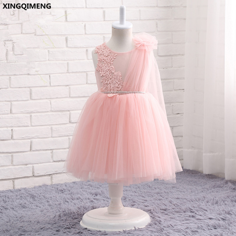 In Stock Pink Tulle Flower Girl Dresses 1-12Y Lace Crystals First Holy Communion Dress for Girls Ball Gown vestido daminha