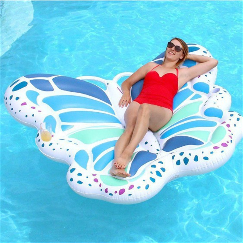 Inflatable Angel Wings Water Bed Floating Row Inflatable Ride on Butterfly Pool Toy White Swimming Ring Air Mattress Sunbath Mat