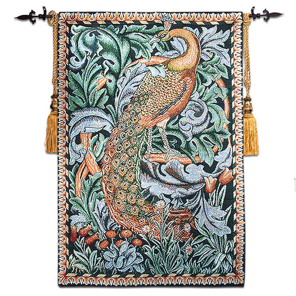 58*88cm William Morris Peacock Picture Wall Tapestry Wall Hanging Belgium Tapestry Fabric Wall Carpet Cloth Moroccan Decor-in Tapestry from Home & Garden    1