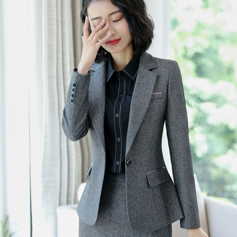 IZICFLY New Style Black Blazer Set With Skirt Office Suits For Women Uniform Lady Work Outfit Elegant 2 Pcs Skirt Suit Big Size