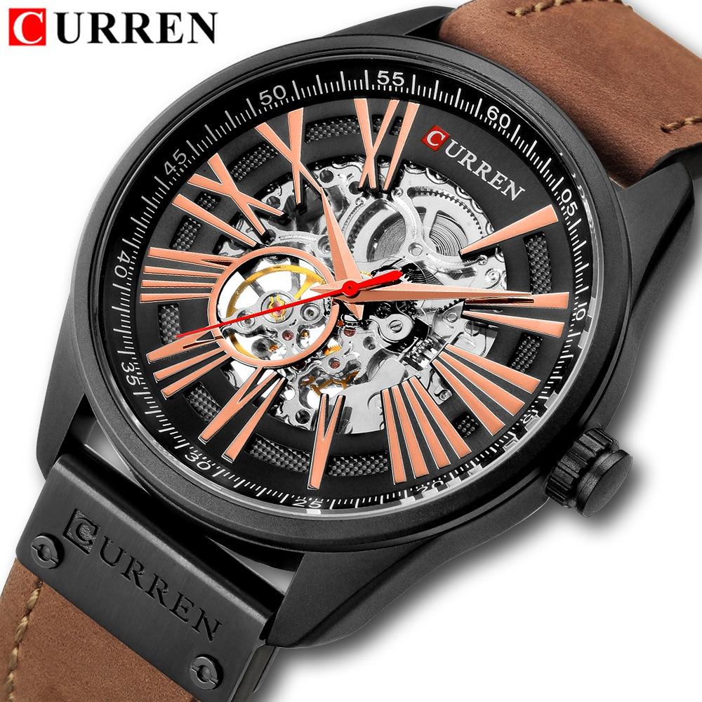 CURREN Men Watches Automatic Mechanical Watch Tourbillon Sport Clock Leather Casual Business Retro Wristwatch Relojes Hombre все цены