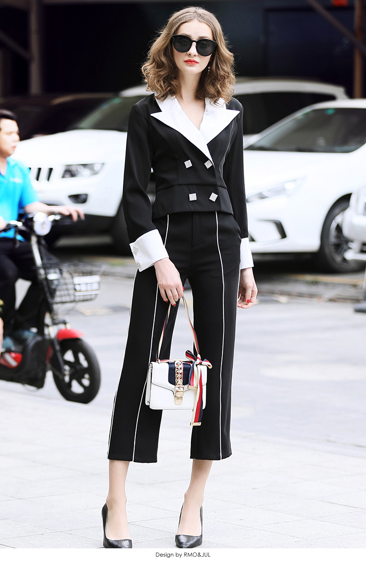 family RMOJUL temperament of the new spring dress 2019 OL bump color suit jacket + 9 minutes of pants fashion set 46