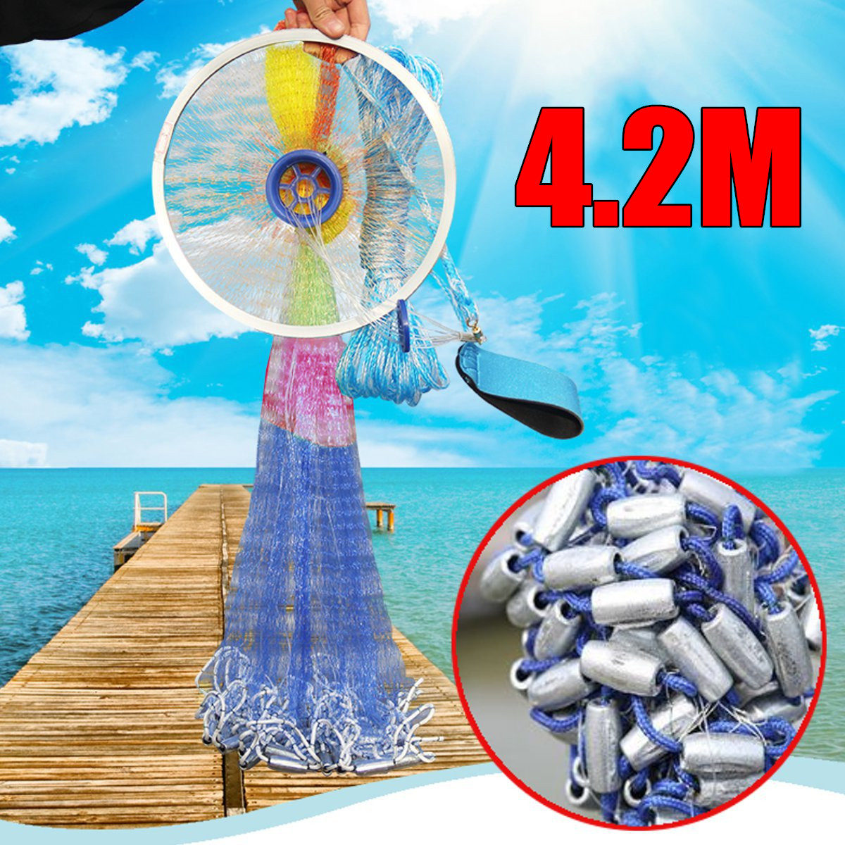 Aluminum ring USA cast nets 4.2m easy throw fly fishing net tool small mesh outdoor hand throw catch fish network все цены