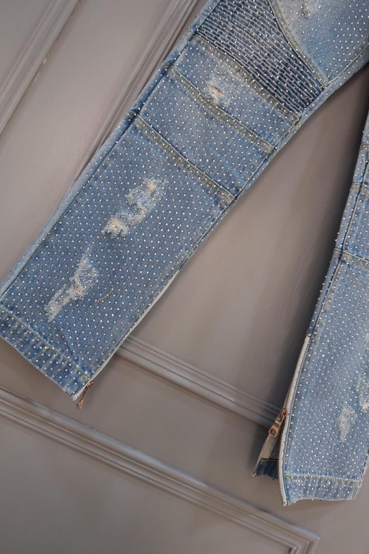 Nouvelle Décontracté Pantalon Printemps Femmes Ddxgz3 Trou Jeans Diamants d6FpdEwq