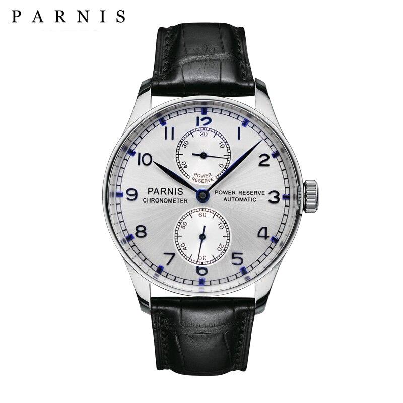 43mm Parnis Montre Automatique De Puissance De Réserve Horloge Mécanique Montres Classique Montre Homme Top Marque De Luxe PA767-A Cadeaux pour Hommes