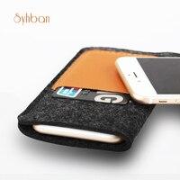 SYHBAN Handmade Wool Felt Wallet Style For Iphone 6 7 6S 7Plus Clear Case Custom Sizes
