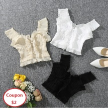 2019 Summer Autumn New Women Sleeveless Top White Black Crop Lace Up Bandage Tops Sexy Camis Sweet AA021S50