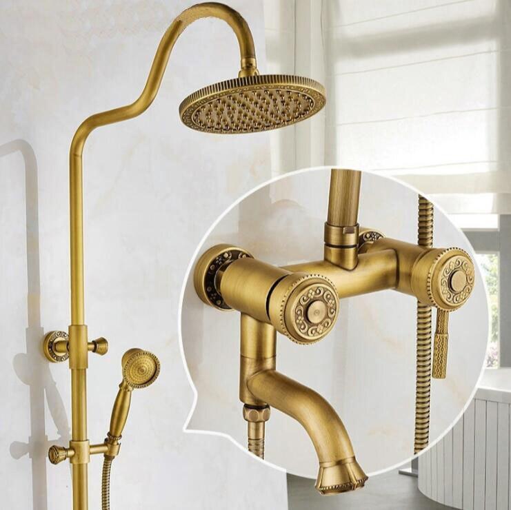 New Luxury Antique Brass Carving Rainfall Shower Sets Faucet Mixer Tap Tub Faucet Brass Bath Shower