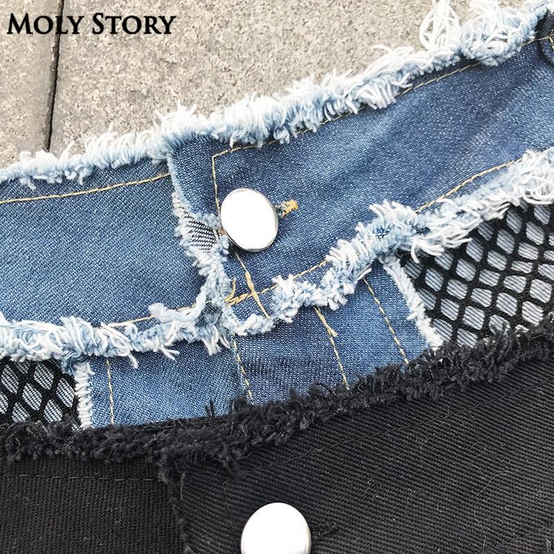 Sommarsemester Strand Mini Shorts Kvinnor Howllow Out Mesh Sexig låg - Damkläder - Foto 6
