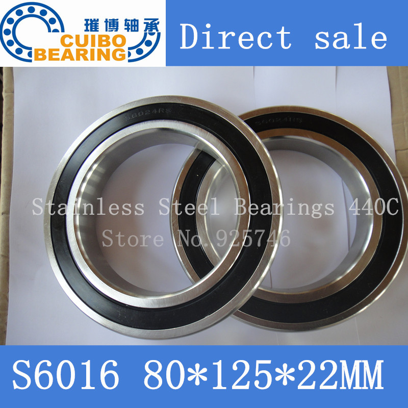 Free Shipping 1PCS S6016 2RS Stainless Steel Bearing 80x125.x22 Miniature 6016 RS  Ball Bearings S6016