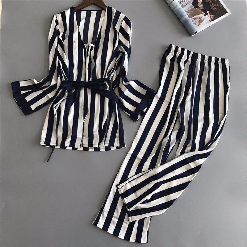 2 Pieces Women   Pajamas     Set   2019 Summer Autumn Striped Sleepwear Satin Silk   Pajamas   Long Sleeve Top Pants Pijama
