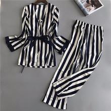 Женские шелковые пижамные комплекты, 3 шт., модные Сатиновые топики на тонких бретельках, пижама с длинным рукавом в полоску для дома