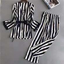 Women Silk Pajamas Sets 3 Pieces Fashion Spaghetti Strap Tops Satin Sleepwear Female Stripes Long Sleeve Home Clothing Pijama
