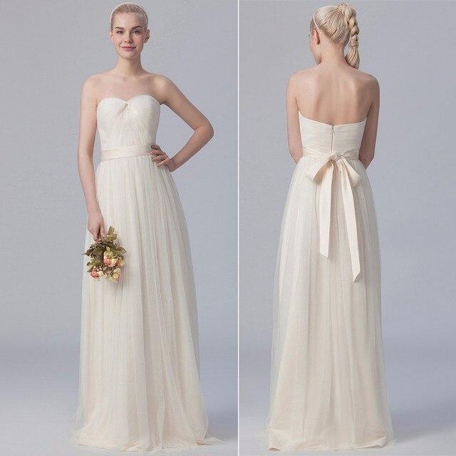 Light Color Vestidos de madrinha 2017 New TulleA-Line champagne bridesmaid  dresses long cheap bridesmaid a38de665d285